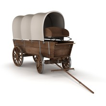 Old Covered Wagon. 3d Illustra...