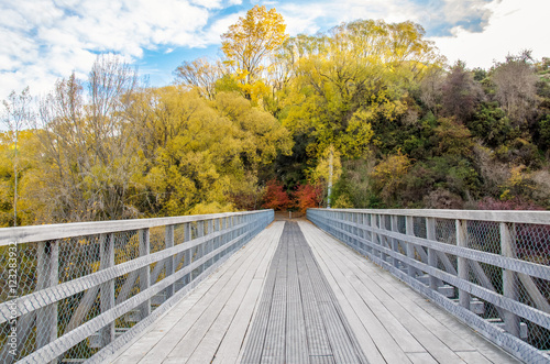 Photo  The Historic Bridge over Shotover River in Arrowtown, New Zealand