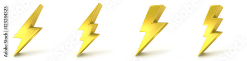 Lightning symbols, 3D golden signs Canvas-taulu