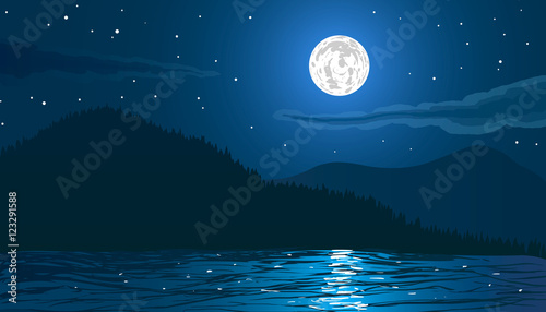 Night landscape. Beach by the sea with mountains and full moon. Vector illustration.