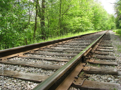 Railroad tracks on a summer day