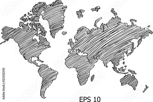 World map globe vector line sketch up illustrator eps 10 buy world map globe vector line sketch up illustrator eps 10 gumiabroncs Images