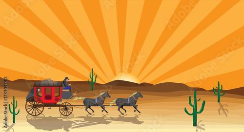 Obraz na plátne western scene with stagecoach wagon