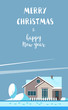 Merry Christmas vector illustration. Christmas card with a winter family house on blue background