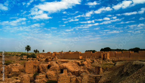 Poster Ruine Panorama of Babylon ruins, Hillah, Iraq