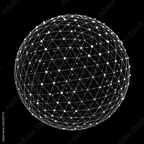 Fotografía  Abstract connection web sphere with spot and lines 3D rendering