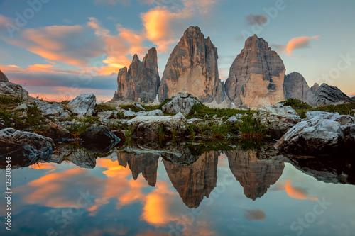 Tre Cime di Lavaredo at beautiful sunrise, Italy, Europe Fototapet