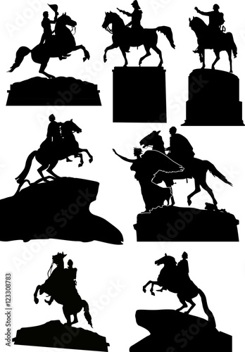 Photo set of seven horseman statues isolated on white