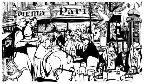 Tuinposter Art Studio Customers at traditional outdoor Parisian cafe