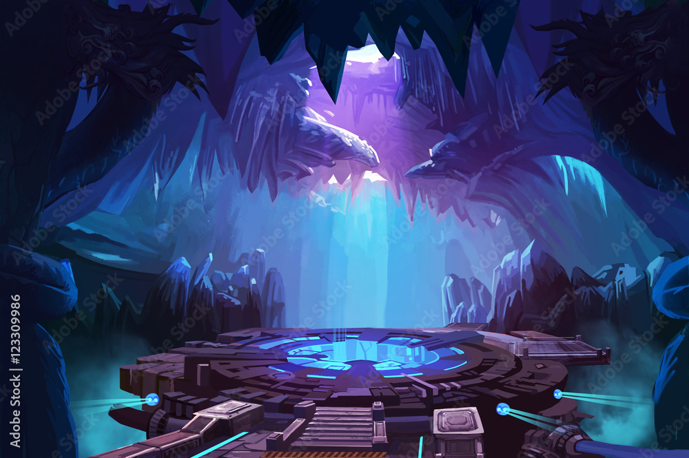 Fototapeta Mystery Cave with Sci-Fi Building. Video Game's Digital CG Artwork, Concept Illustration, Realistic Cartoon Style Background
