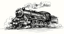 Steam Locomotive.Hand Drawn Il...