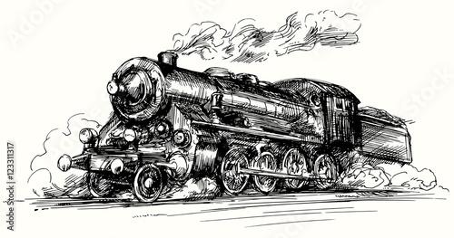 Steam locomotive Hand drawn illustration  - Buy this stock vector
