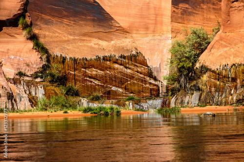Fotografie, Tablou  Nature's Abstract Geometry Created by Water Forced Through Fissured Sandstone along the Colorado River Downstream from Glen Canyon Dam