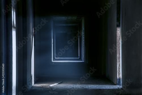 Creepy night walkway hallway in abandoned building Canvas Print