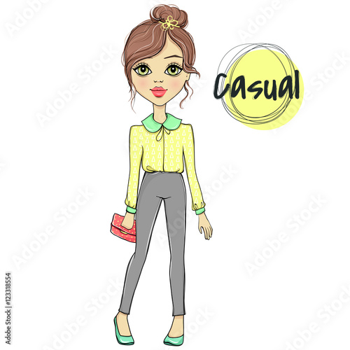 34e7eadb0 Vector fashion girl. Sketch model. Stylish woman. Female trendy ...