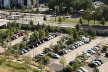 Aerial View Of A Large Parking...