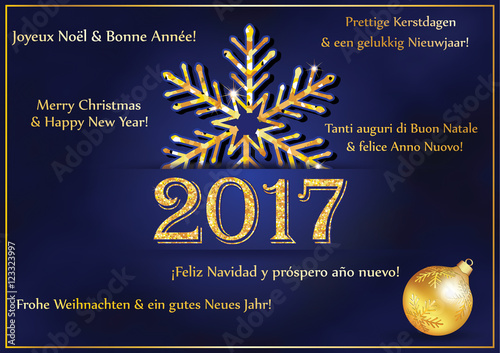 business new year greeting card 2017 in many languages text translation merry christmas