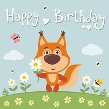 Happy Birthday! Cute Squirrel With Flower Camomile On Flower Meadow. Birthday Card.