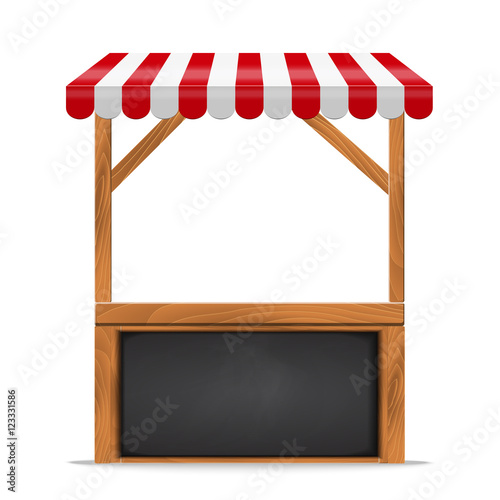 Stampa su Tela Street stall with red awning and wooden rack.