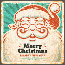 Vector Santa Claus In Vintage Style Christmas Greeting Card. Retro Illustration With Copy Space For Text.