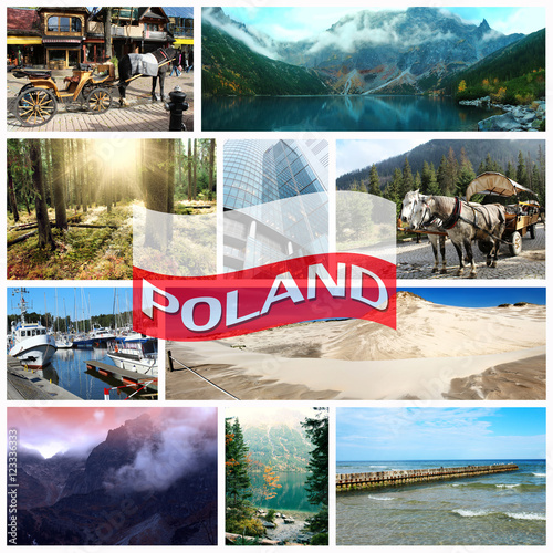 Collage on the theme of travel in Poland
