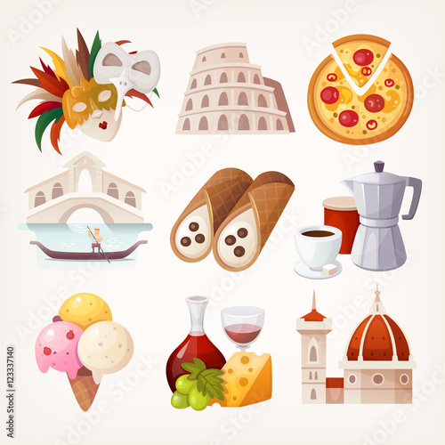 Stickers with sights and famous food of Italy. Fototapete