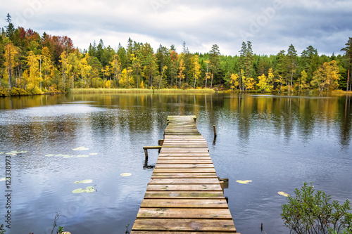 Tuinposter Blauwe hemel Autumn scenery on Swedish lake