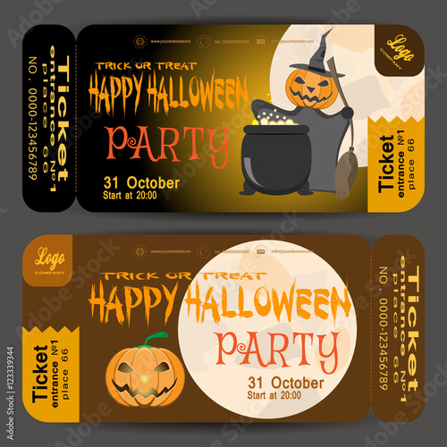 Photo  Vector beautiful ticket to a Halloween party on the gradient dark brown background
