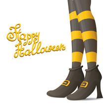 Vector Witch Legs Halloween Background