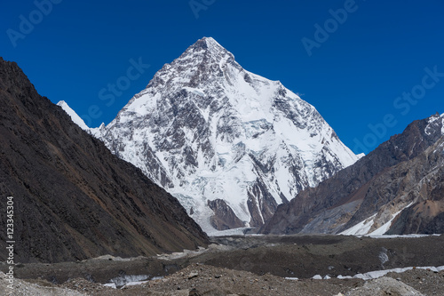 K2 mountain peak, second highest mountain in the world view from Concordia camp, Karakoram mountains range in K2 base camp trekking route, Gilgit Baltistan, Pakistan, Asia