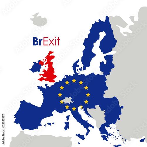 Plakat Brexit ikony unii europejskiej. Europa, naród i rząd. Kolorowy wzór. Ilustracji wektorowych