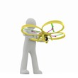 3d man with drone, quadrocopter, with photo camera. 3d render. 3