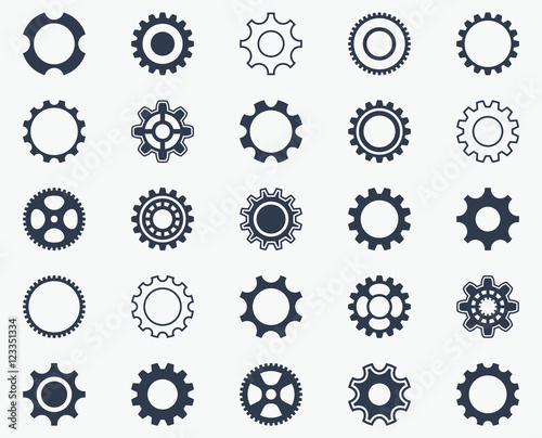 Collection of black gear wheel icons Fototapet