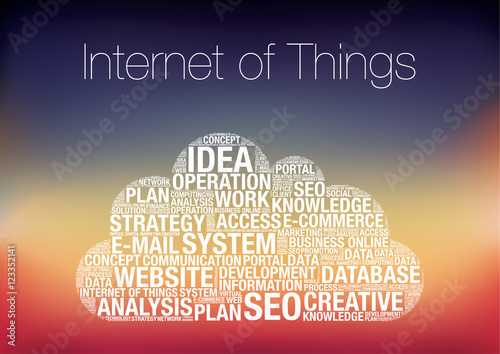 IOT Internet of Things word cloud concept vector illustration