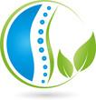Wirbelsäule und Blätter, Heilpraktiker, Orthopädie, Logo