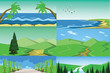 Vector abstract green landscape set with blue and sea shores, hills and road, flat zigzag style.