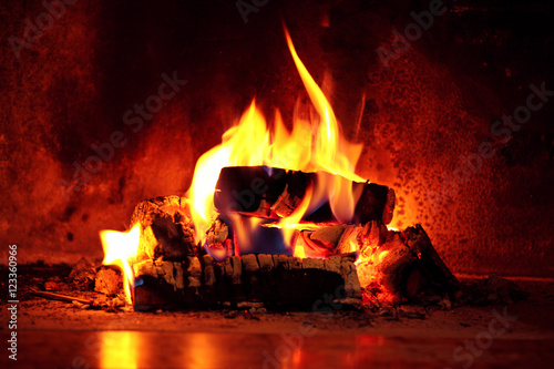Photo Flame in fireplace.