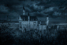 Mystic Spooky Castle In Moonlight