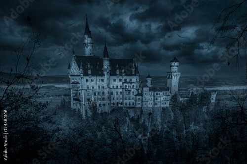 Photo sur Toile Chateau Mystic spooky castle in moonlight