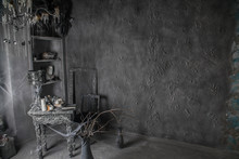 Entourage Interior: Wall, Table And Candles In An Old Scary Abandoned House In Halloween Witches