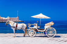 Beautiful White Horse With Carriage In Chania Old Harbor, Crete, Greece