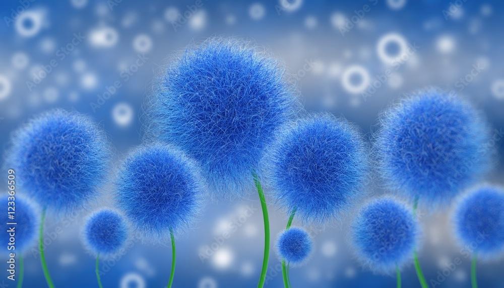 Abstrakcyjne niebieskie kwiaty