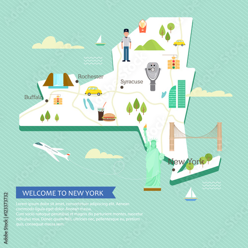 Map Of New York Landmarks.Vector Map Of New York With Popular Landmarks And Place For Your