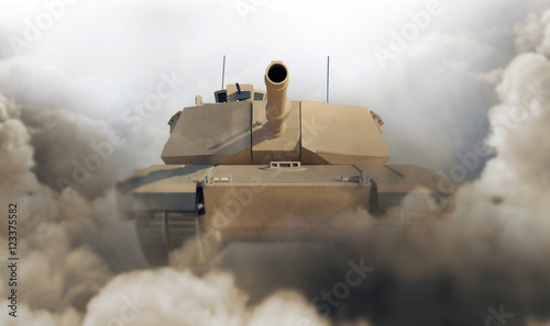 Photo Heavy Military Tank in Desert. 3D Rendering. (Focus on the Tank)