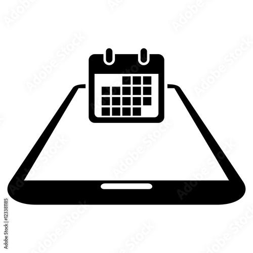 Calendario Vector Blanco.Icono Plano Smartphone Perspectiva Con Calendario En Fondo