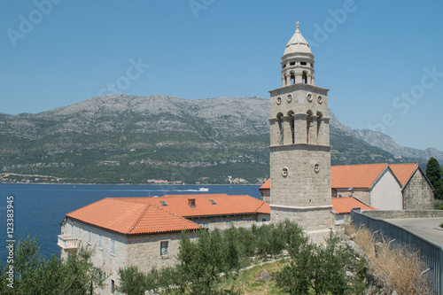 Fotografie, Obraz  Korcula, Church on the Adriatic Coast,Croatia,Europe