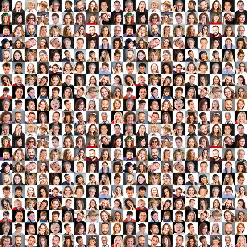 Fototapeta Collection of different caucasian women and men  obraz