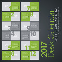 Desk Calendar 2017 Light Green Color Background