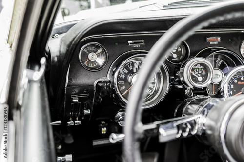 Mustang Steering Wheel dashboard Canvas Print