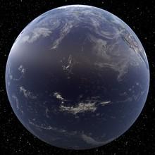Earth Focused On Hawai Viewed From Space. Islands Viewed Include Kauai, Oahu, Molokai, Lanai, Maui And Hawai.